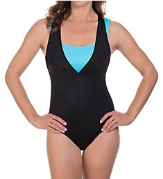Reebok On The Double Racerback One Piece Swimsuit 780516