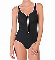 Reebok Zig Zag Zip Front One Piece Swimsuit 780519