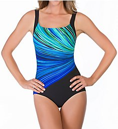 Reebok Fire and Water Square Neck One Piece Swimsuit 780521