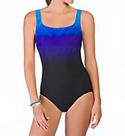 Reebok Wind Blown Square Neck One Piece Swimsuit 780522