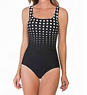 Reebok Hits The Spot Square Neck One Piece Swimsuit 780523