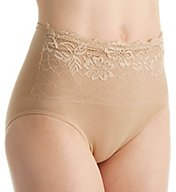 Rhonda Shear Seamless Brief Panty with Lace Overlay 4220
