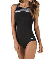 Speedo Endurance+ Stripe High Neck One Piece Swimsuit 7723085