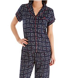 Tommy Hilfiger Girlfriend Woven Short Sleeve Top & Capri PJ Set R85S142