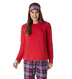 Tommy Hilfiger Jersey Sweater & Flannel Pant PJ Set with Eye Mask R89S005